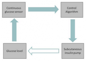 Figure 2. Flow of information in closed-loop system – sensor glucose measurements are sent to the control algorithm which computes and transmits the amount of insulin to be delivered via the pump.  The algorithm is updated in real time as it receives feedback on the patient's glucose level in response to insulin infused.